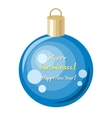 Merry Christmas and Happy New Year Blue Ball vector image