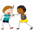 Two boys hitting and punching vector image vector image