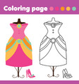 coloring page with fashion dress and shoes vector image