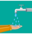 Hands under falling water out of tap vector image