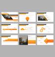 Orange presentation templates infographic vector image