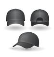 Set of realistic black baseball caps isolated vector image