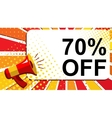 Megaphone with 70 PERCENT OFF announcement Flat vector image