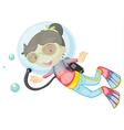 A girl scuba diving vector image vector image