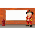A fireman with a fire extinguisher in front of an vector image vector image