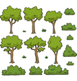 trees and bushes set vector image vector image