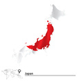 Map of Japan with flag vector image