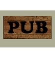 Template label pub made from old boards vector image