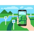 Smartphone with mobile gps navigation system and vector image vector image