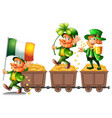 leprechauns standing on gold vector image vector image