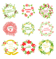 Set of Vintage Christmas and New Year Wreath vector image