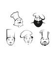 Cook and chef heads in toques vector image vector image