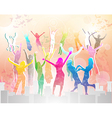 Happy people silhouettes vector image