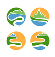 set icon of mountainswaves and sun vector image