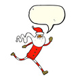 cartoon running santa with speech bubble vector image