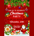 christmas party new year invitation poster vector image