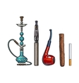 Set of smoking accessories - hookah cigarettes vector image