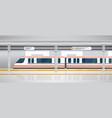 subway underground platform with modern train vector image