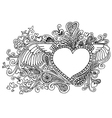 Valentines heart doodles vector image