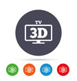 3d tv sign icon 3d television set symbol vector image