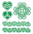 Irish Scottish Celtic green heart pattern vector image