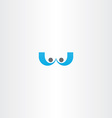 letter w blue people icon element vector image