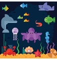 Ocean underwater life sea animals vector image