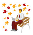 businessman in the park typing on laptop vector image