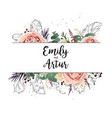floral design card boho art wedding watercolor vector image