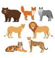 Predatory animals set wolf bear fox tiger lion vector image