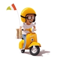 realistic retro pizza delivery scooter and vector image