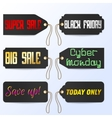 Set Black Friday Cyber Monday tagline sales tags vector image