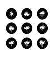 weather set icon on black and white vector image