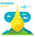Flat design Kyaiktiyo pagoda vector image