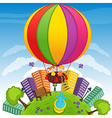 boy and girl on hot air balloon vector image