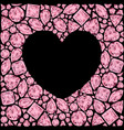 heart frame made of pink gemstones on black vector image