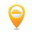 ship icon yellow map pointer vector image vector image