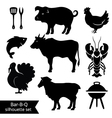 Set of BBQ silhouettes vector image