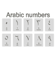Set of monochrome icons with arabic numbers vector image