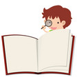 blank notebook and boy with magnifying glass vector image