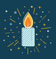 colored christmas candle icon in thin line style vector image