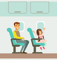father and daughter taking the plane part of vector image