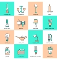 Flashlight and Lamps Icons Flat Line vector image