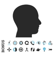 Head Profile Flat Icon With Bonus vector image