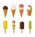ice cream flat icons set vector image