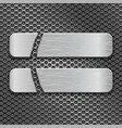 metal perforated background with two long cut iron vector image