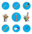 Pencil cutter and eraser with ruler for icon vector image