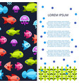 sea life banner - poster with fishes vector image