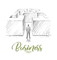 Hand drawn businessman in maze with lettering vector image