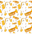 seamless background with saxophone and music notes vector image
